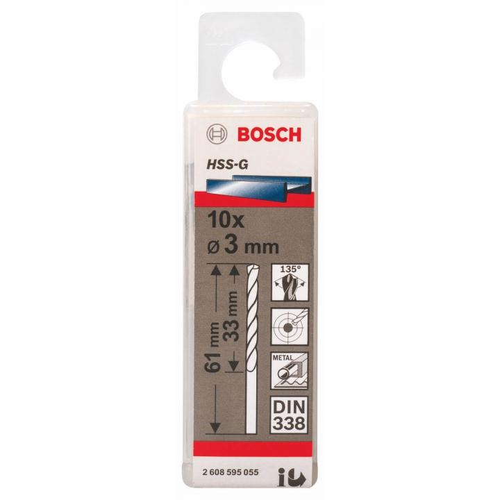 Bộ mũi khoan sắt 10 mũi HSS-G Bosch 2608595055 3mm